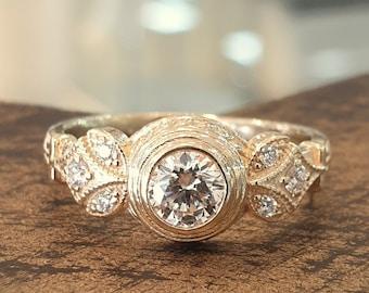 Vintage Engagement Ring Diamonds 14K Yellow Gold Halo Setting Hand Made Engraved Diamond Band