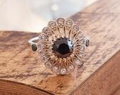 Vintage Engagement Ring For Women Black Diamond Natural White Gold , Unique Engagement Ring, Art Deco Ring, Edwardian Ring