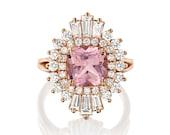 Vintage Engagement Ring Women Rose Gold, Unique Engagement Ring Halo Morganite Cushion Cut, Art Deco Baguette Diamond Ring, Anniversary RIng
