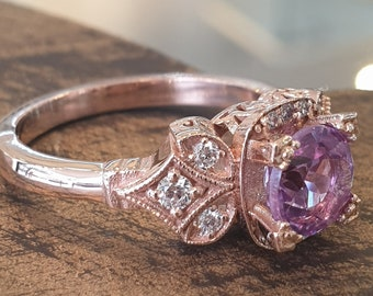 Engagement Rings Vintage Rose Gold Alexandrite White Diamonds Handmade Unique Engagement Ring Promise Statement Anniversary Ring For women
