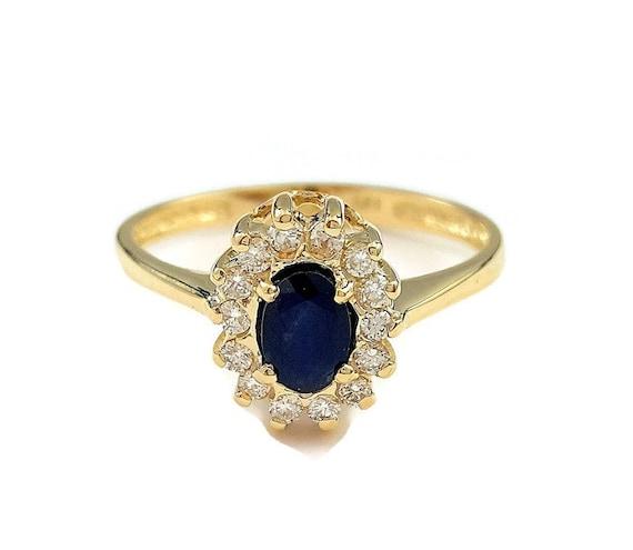 Blue Sapphire Ring Princess Diana Ring Engagement Ring Etsy