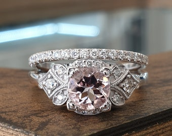 Wedding Ring Set Vintage 14K White Gold 1CT Pink Morganite White Diamonds Eternity Band, Engagement Ring Set For Women, Bridal Set
