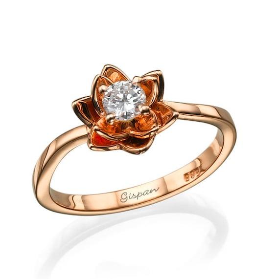 Flower Rose Gold Engagement Ring Diamond Wedding Promise  85632b5aa869