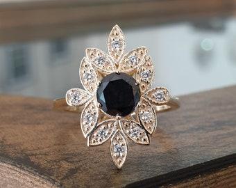 Leaves Art Deco Ring 14k Yellow Gold 1ct Black Diamond White Diamond Pong Settings Engagement Promise Statement Ring
