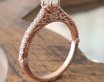 Engagement Ring Victorian Style 14k Rose Gold 0.40 Diamond Unique filigree Diamond Band Rings For Women