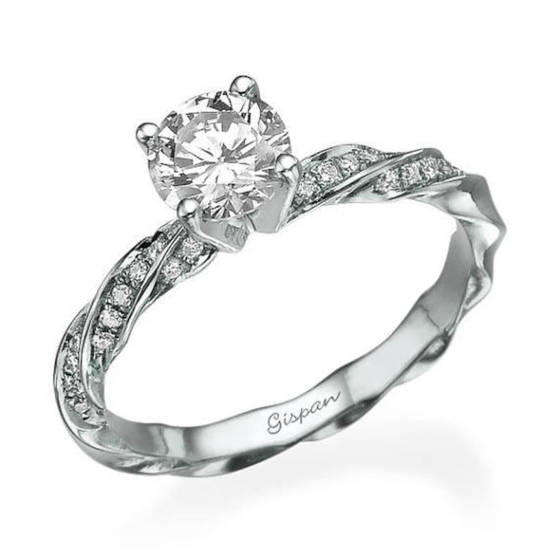 75bd6c370c Diamond Engagement Ring 14K White Gold Spiral Diamond Band | Etsy