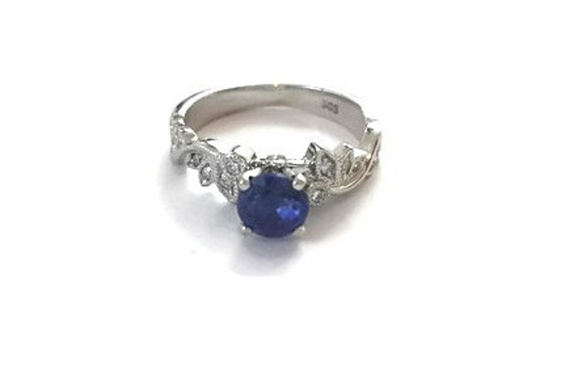 Leaves Blue Sapphire Engagement Ring White Gold Ring Leaf image 0