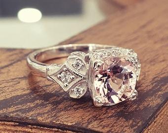 Vintage Engagement Ring Pink Morganite 14k White Gold, Unique Engagement Ring For Women, Art Deco Ring
