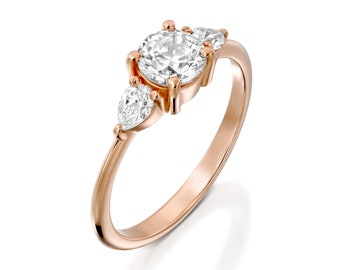 Rose Gold Engagement Ring Round Moissanite And Pear Diamonds For Women Alternative Promise Anniversary Three Stone For Her