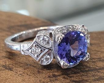 Vintage Engagement Ring Blue Tanzanite 14k White Gold Diamond Band, Unique Engagement Ring For Women, Art Deco Ring