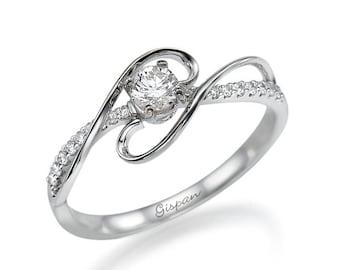 """Diamond Engagement Ring """"Xtr"""" In 14k White Gold, Unique Engagement Ring, Gispandiamonds, Promise Ring, Engagement Ring For Women"""