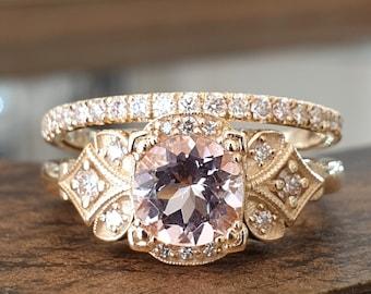 Engagement Ring Set Vintage Morganite Diamond 14k Yellow Gold Eternity Band, Antique Wedding Ring Set, Wedding Band Set , Bridal Set