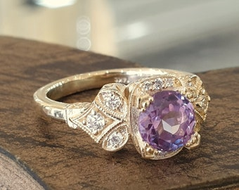 Vintage Alexandrite Engagement Ring 14k Yellow Gold Diamond Band Unique Engagement Ring
