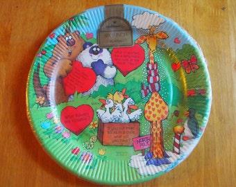 Vintage Hallmark Plates Valentines Jokes Paper Plates