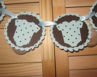 Hand Made Blue Polka Dot Onesies Garland, Baby Shower Garland, Onesies Garland, Baby Boy Shower Banner