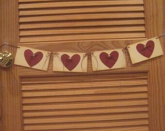 Handmade  Valentine Hearts Banner, Rustic Handmade Valentines