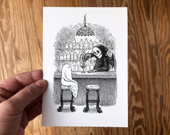 5x7 Spooky Art Print, Pen and Ink Drawing of Bartender Grim Reaper Mixing Drink for Ghost at Bar, Cute Macabre Art by Laurie A. Conley