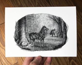 5x7 Spooky Art Print, Pen and Ink Drawing, Headless Horseman Humor , Black and White Spooky Halloween Gothic Decor by Laurie A. Conley