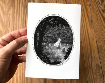 5x7 Gothic Art Print, Pen and Ink Drawing of Dark Romantic Ghost Couple Dancing in Graveyard, Macabre Decor by Laurie A. Conley
