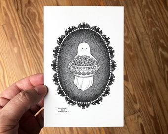 4x6 Halloween Art Print, Pen and Ink Drawing of Cute Ghost with Trick or Treat Candy, Gothic Bat Border, Spooky Decor by Laurie A. Conley