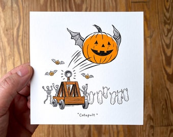5x5 Halloween Art Print, Square, Catapult with Flying Jack-o-Lantern Pumpkin, Ghosts and Skeletons, Spooky Cute Humor by Laurie A. Conley