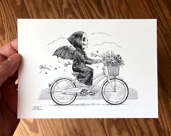 5x7 Macabre Art Print, Pen and Ink Drawing of Spooky Cute Grim Reaper Riding a Bicycle, Black and White Gothic Decor by Laurie A. Conley