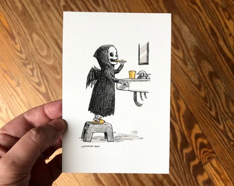 4x6 Giclée Art Print, Pen and Ink Drawing with Watercolor, Spooky Cute Grim Reaper Brushing Teeth, Gothic Bathroom Decor by Laurie A. Conley