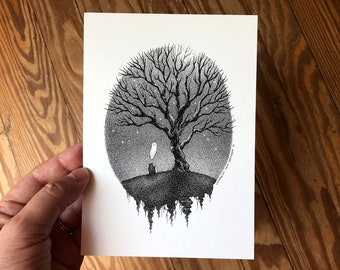 5x7 Spooky Art Print,  Pen and Ink Drawing of Lonely Ghost and Grave with Moon and Tree, Cute Macabre Decor by Laurie A. Conley
