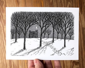 5x7 Giclée Art Print, Pen and Ink Drawing of Haunted House with Ghost in Winter Woods Landscape, Gothic Decor by Laurie A. Conley