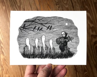 5x7 Spooky Art Print, Grim Reaper Playing Guitar Music for Happy Ghosts in Graveyard, Cute Dark Gothic Decor by Laurie A. Conley