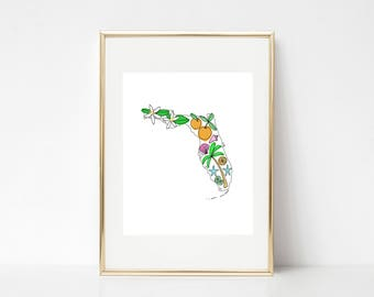 Florida State Wall Art, Florida Map Print, Florida Illustration, Map of Florida, Florida Decor, Housewarming Gift, State Art