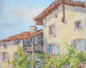 Original watercolor French village, from 1945 signed Vérité, vintage painting, South of France landscape.