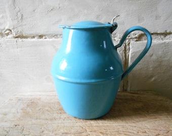 French vintage enamel pitcher, blue enamel pot with lid, water pitcher, French enamelware, French antique rustic vase country garden decor.