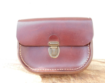 Vintage leather pouch, French hand stiched leather small belt bag. Leather pouch for men.