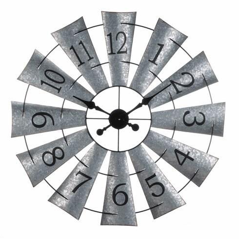 Galvanized Windmill Wall Clock | Rustic Home Decor | Feature Wall | industrial wall clock | Farmhouse Decor | Primitive Decor | Contemporary