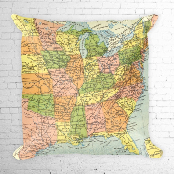 Pillow Map United States East Coast, Great Lakes, South East, Midwest  Reproduction of a Vintage Map