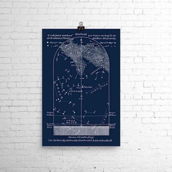 October Astronomy Print Star Map Sky Chart Wedding Birthday