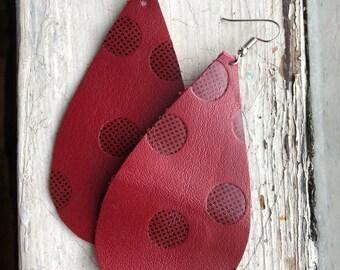 Polka dot red leather earrings