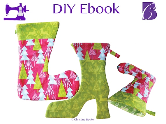 DIY Ebook PDF Tutorial and Pattern Christmas Stocking, Ankle Boot