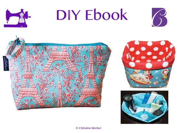 PDF Ebook Tutorial Cosmetic Bag,  Wash Bag and Fabric Basket