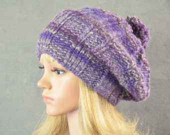chunky winter hat with pom knitted in purple and plum with gold accents  made of soft and thick wool for ladies round shape ce36399b116