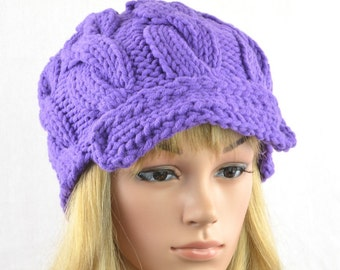 9e9bc58a9f4 purple slouchy knitted hat women for winter