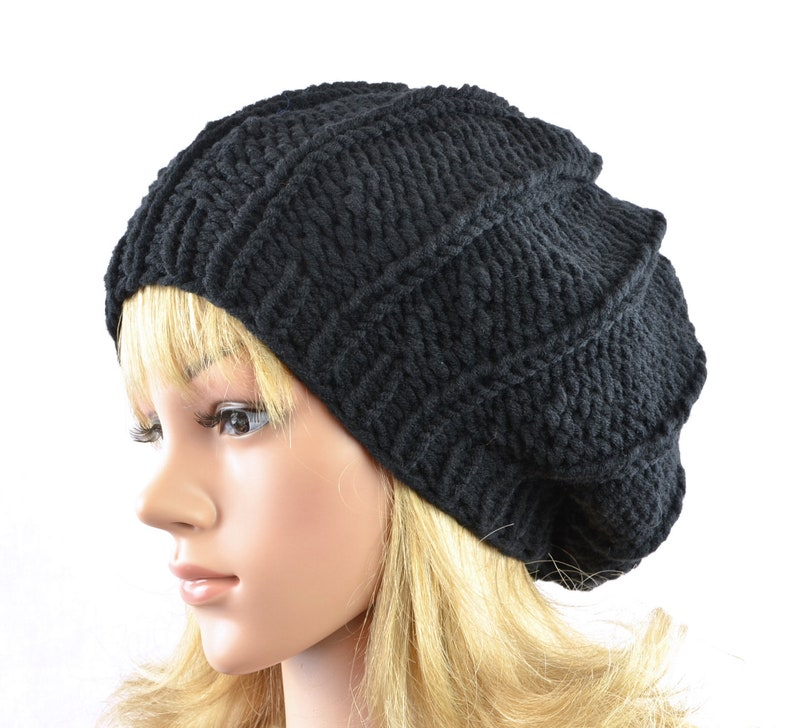 68bbf91eab3 Black beret for women knitted in round form from soft blend