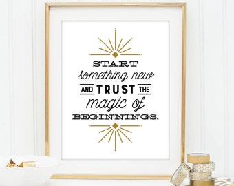 Magic of Beginnings - Quote print - Art Deco Typographic Printable Graduation art wall decor - Inspirational quote poster - Instant download