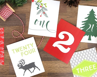 Printable Advent Calendar - 25 Card December Calendar - Countdown to Christmas - DIY Christmas Decor - Christmas Cards - Instant Download