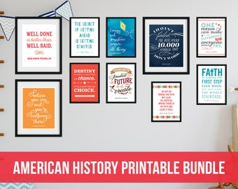 American History Quotes Printable Bundle - 10 printable designs - 5x7, 8x10, 11x14 gallery wall decor, classroom decor - Instant Download