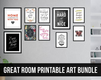 Great Room Printable Art Bundle for a Gallery Wall