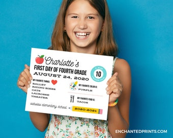 First Day of School Sign, First Day of School Photo - Black and White, Colorful, Chalkboard, Instant Download or Printed School Sign