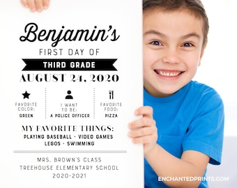First Day of School Sign, First Day of School Photo - Black and White, Chalkboard, Instant Download or Printed School Sign