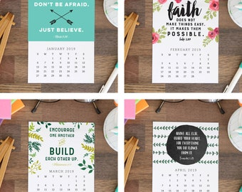 Printable 2019 Desk Calendar 12 Month Bible Verses And Scriptures Christian Calendar Stocking Stuffer Last Minute Gift Instant Download